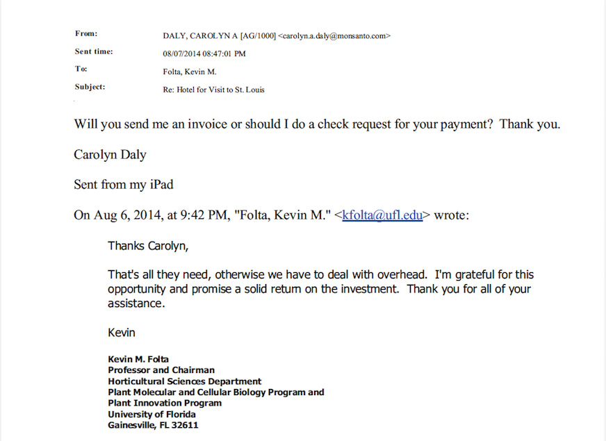 25000 Monsanto money letter to Kevin Folta emerges Univ of – Promise to Pay Letter